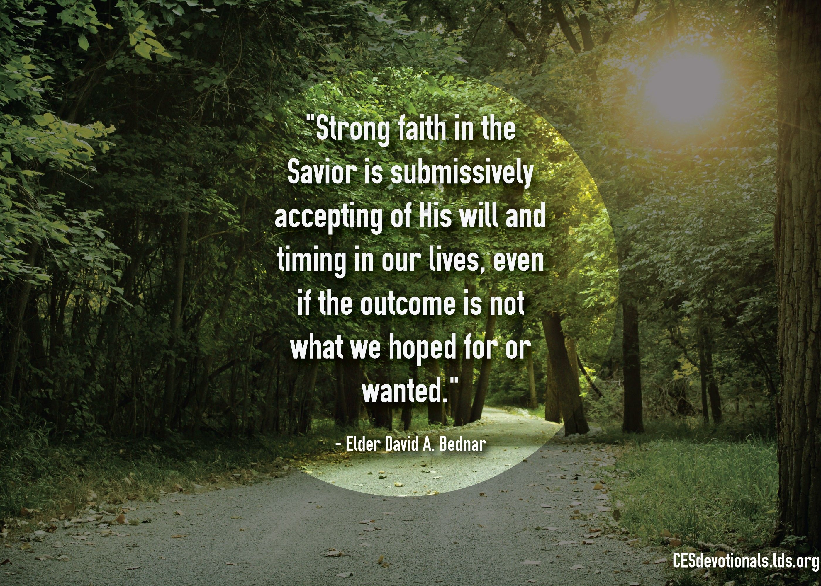 """Strong faith in the Savior is submissively accepting of His will and timing in our lives, even if the outcome is not what we hoped for or wanted.""—Elder David A. Bednar, ""That We Might 'Not … Shrink'"""