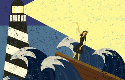 woman in boat near lighthouse