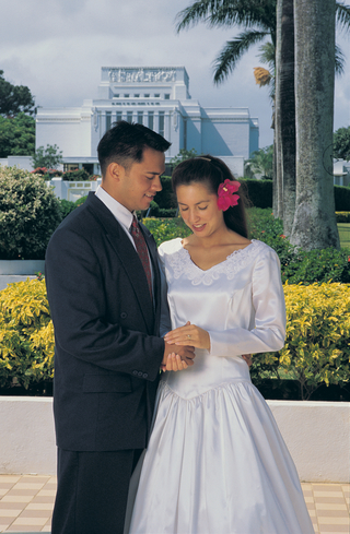 Newlyweds Outside the Temple