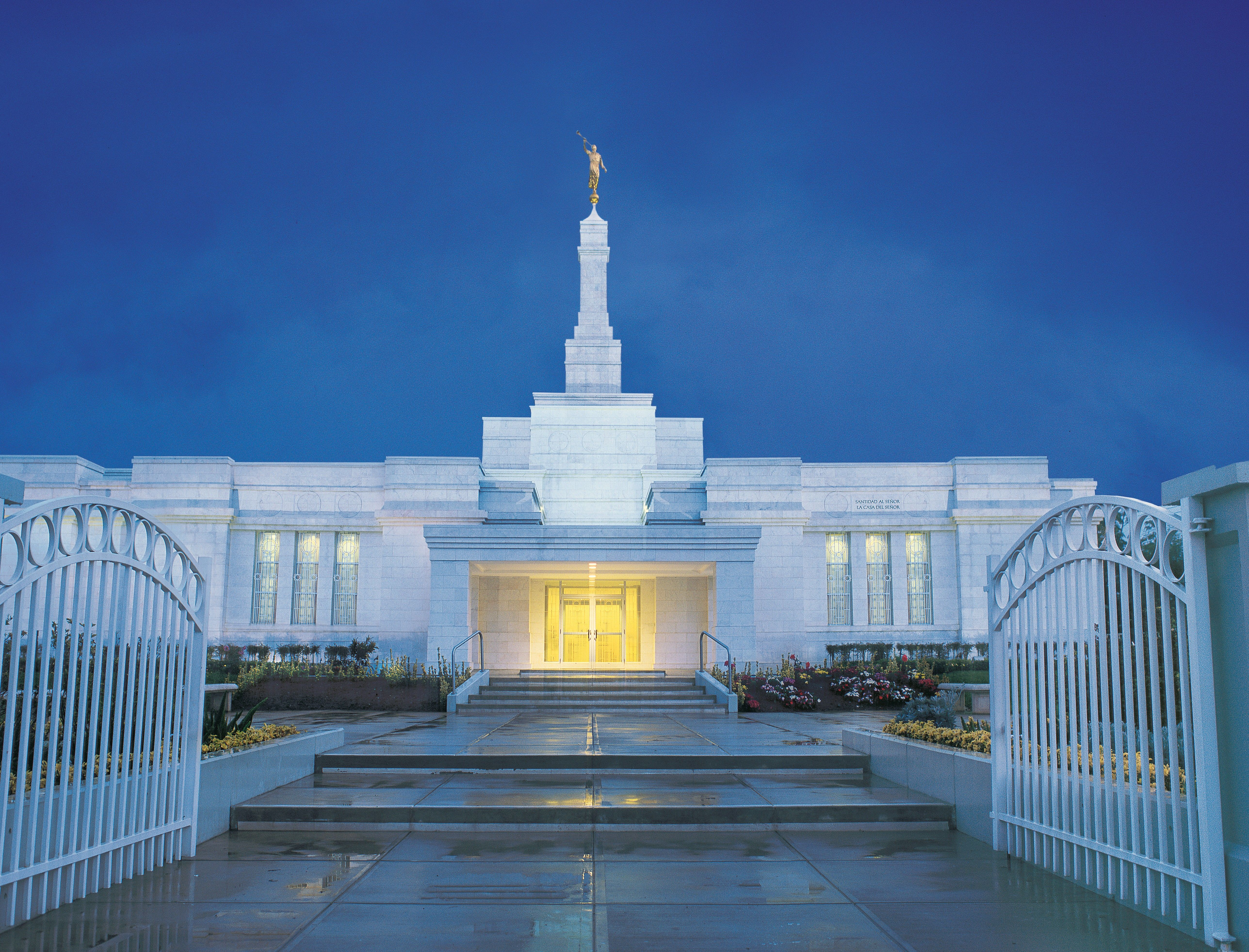 The Oaxaca Mexico Temple in the evening.