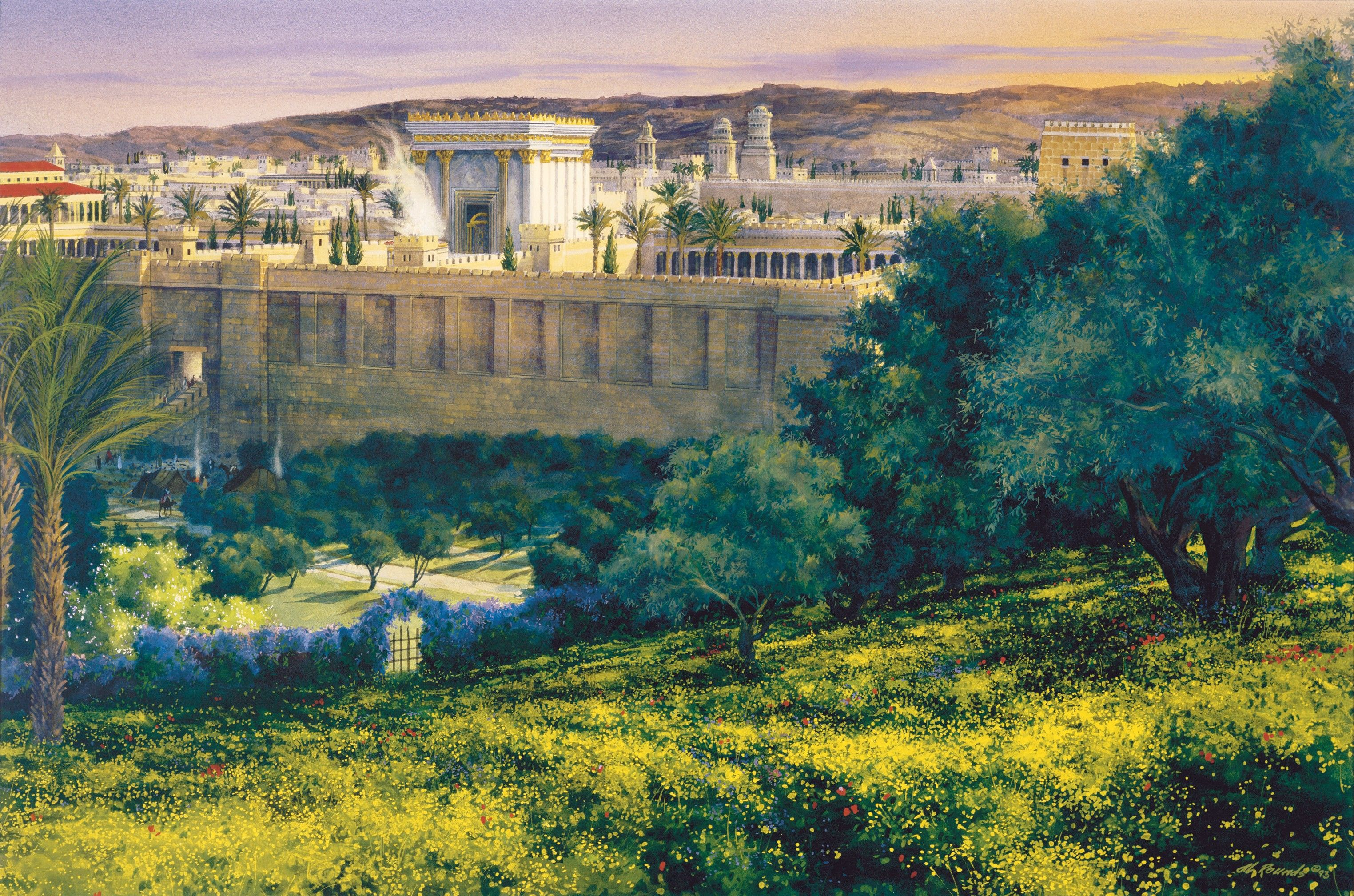 My Father's House, by Al Rounds; GAB 52; Matthew 21:14–15; Luke 21:37–38; John 2:16; 8:2