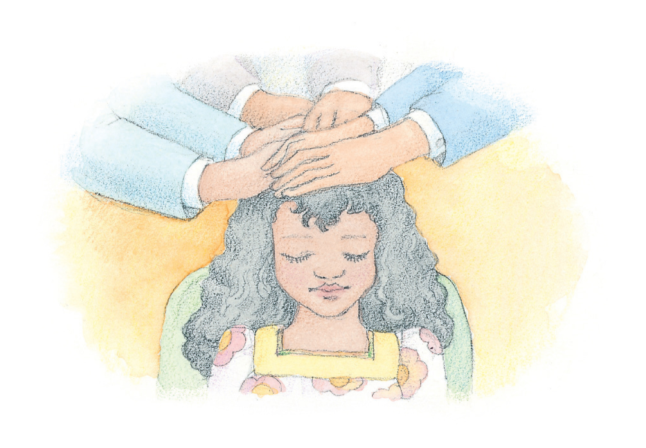 """A young girl being confirmed a member of the Church. From the Children's Songbook, page 77, """"The Church of Jesus Christ""""; watercolor illustration by Phyllis Luch."""