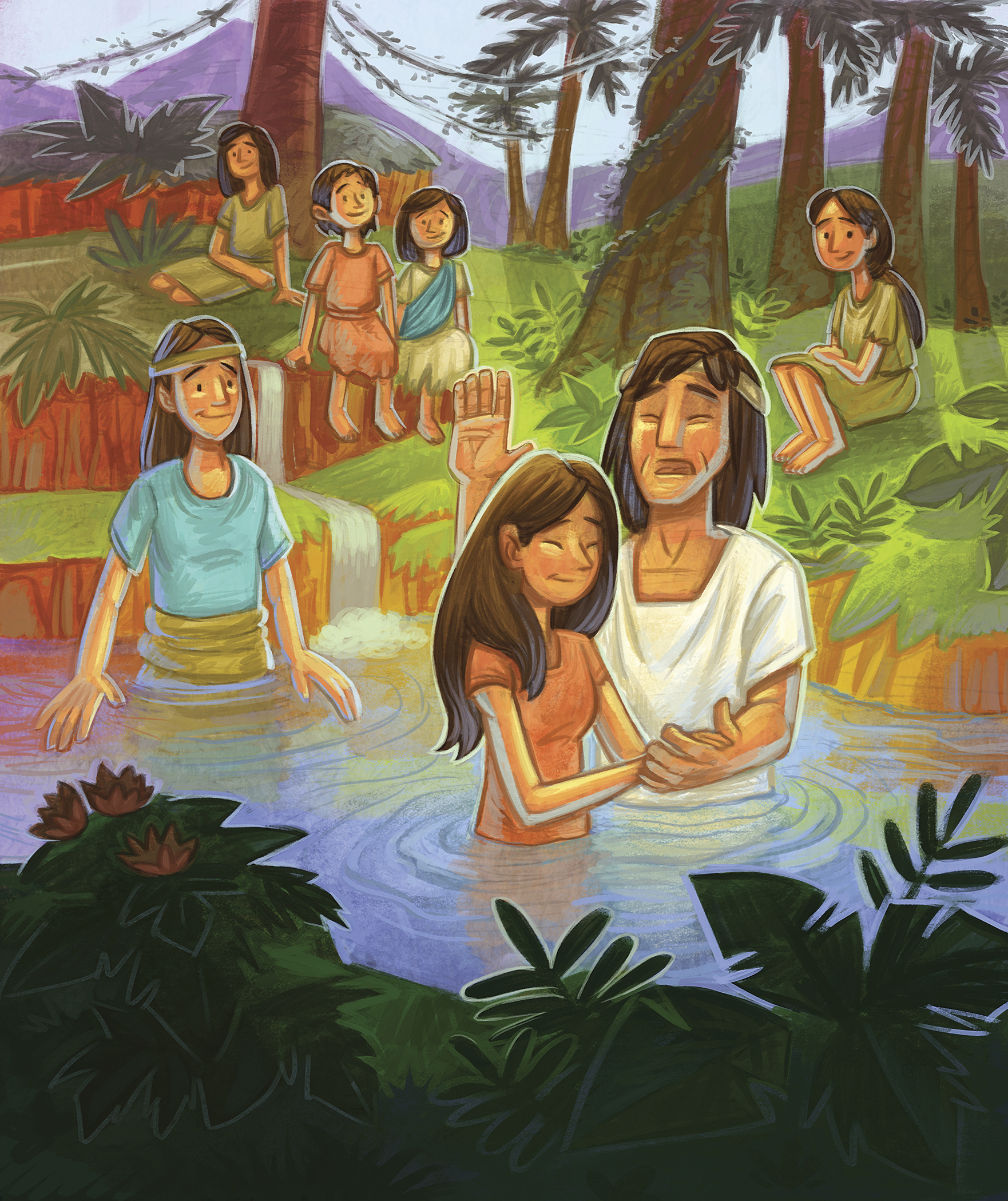 A man baptizes a woman in a river while other people watch and wait to be baptized.
