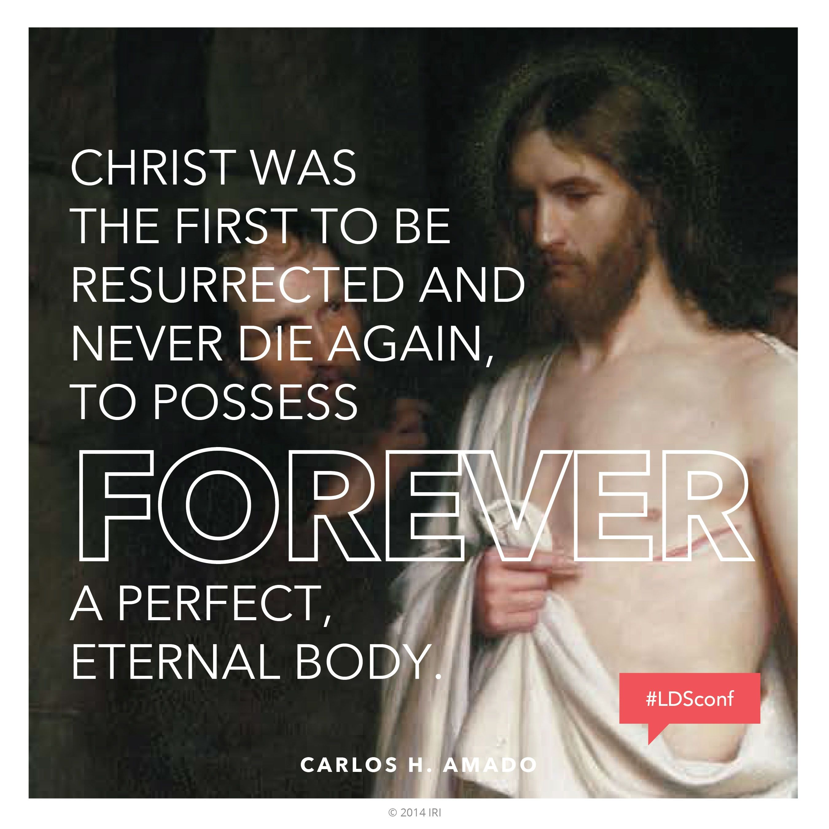 """""""Christ was the first to be resurrected and never die again, to possess forever a perfect, eternal body.""""—Elder Carlos H. Amado, """"Christ the Redeemer"""""""