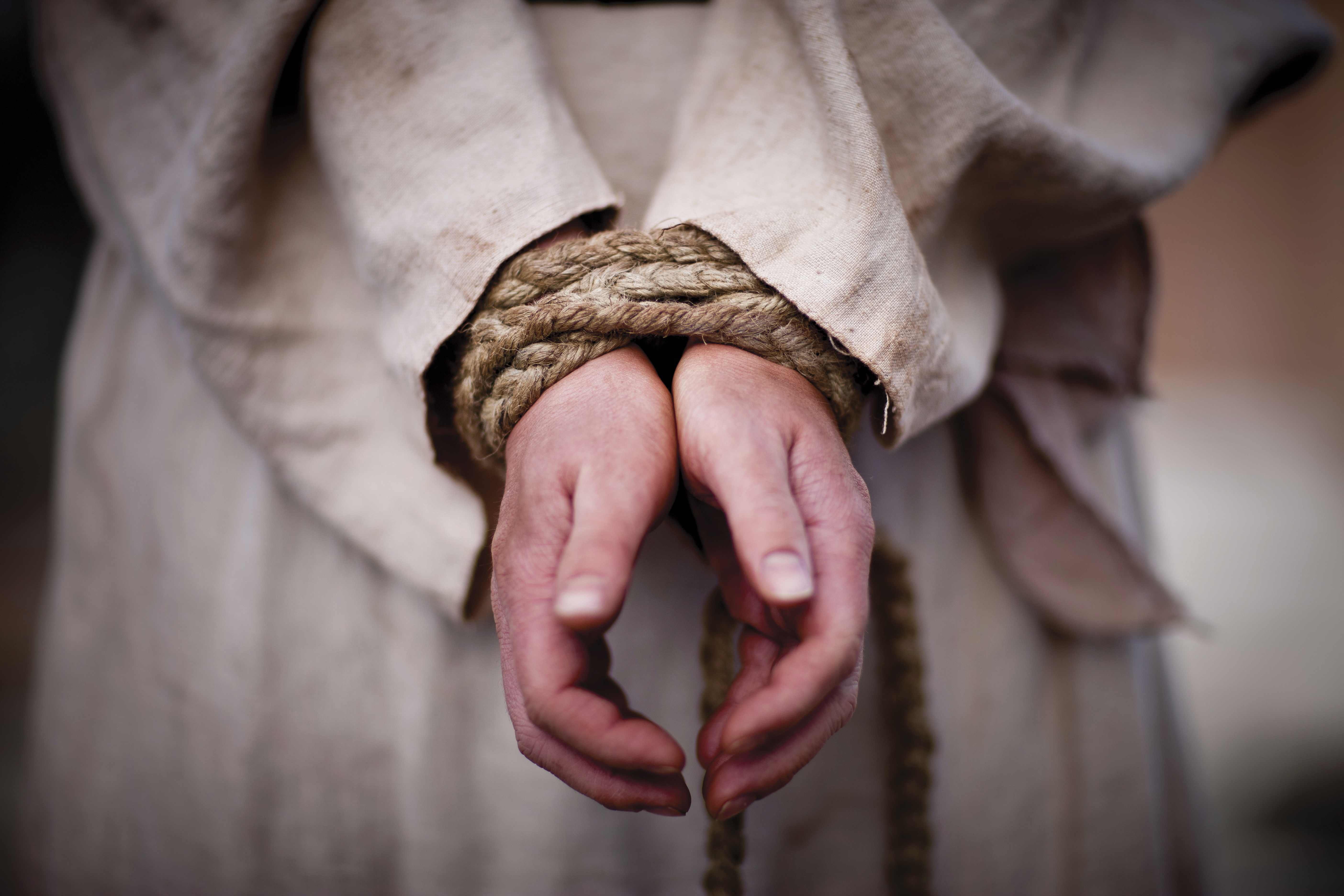 Christ's hands after being tied together with a rope.