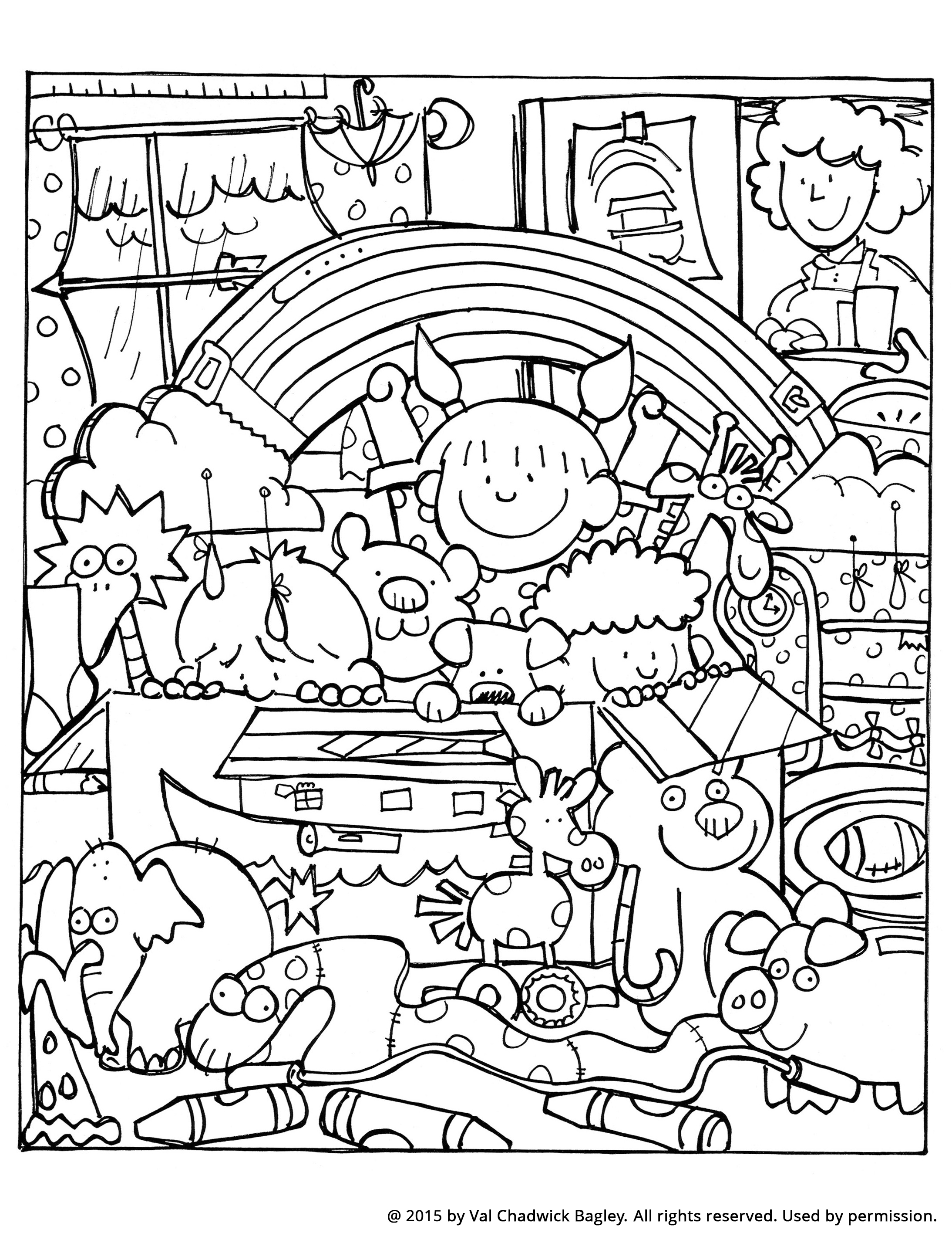 A coloring page of children at home playing Noah and the ark.