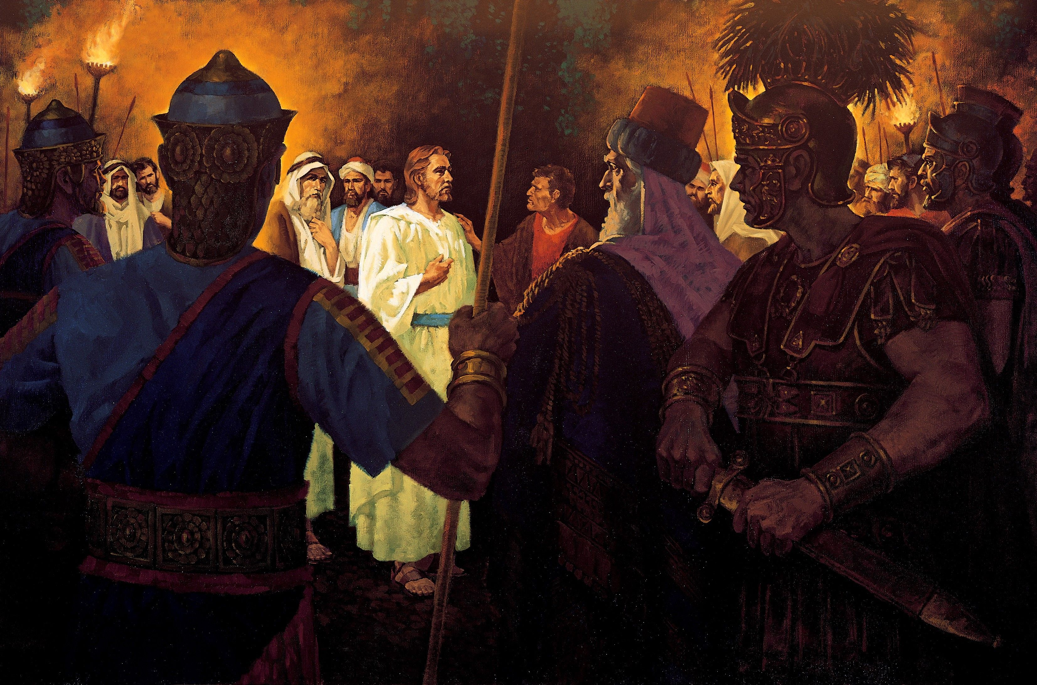 A painting by Ted Henninger showing the Savior standing in a crowd of soldiers, illuminated by torchlight, with Judas's hand on His shoulder.