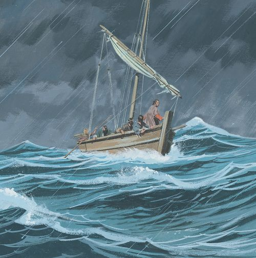 boat on stormy sea