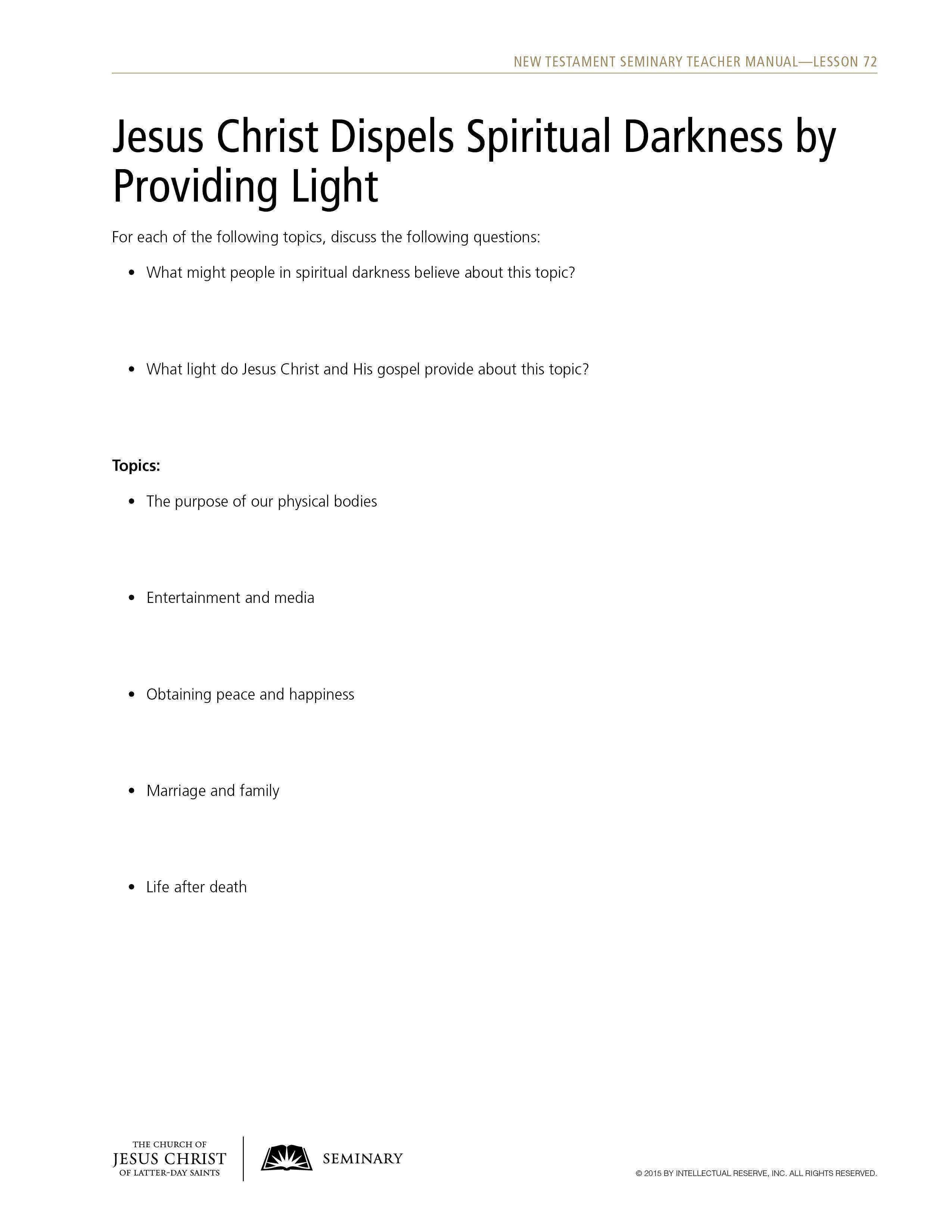 handout, Jesus Christ Dispels Spiritual Darkness