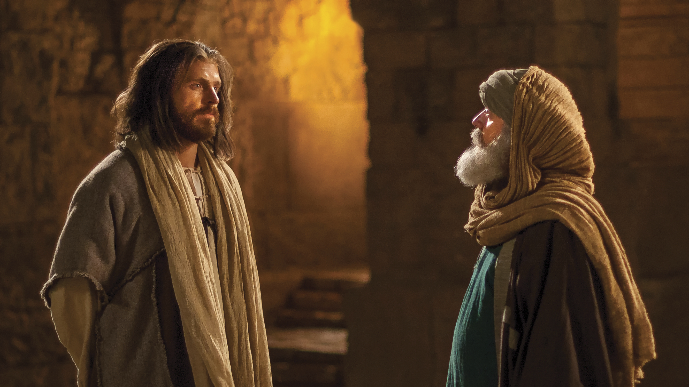 Jesus speaking with Nicodemus.