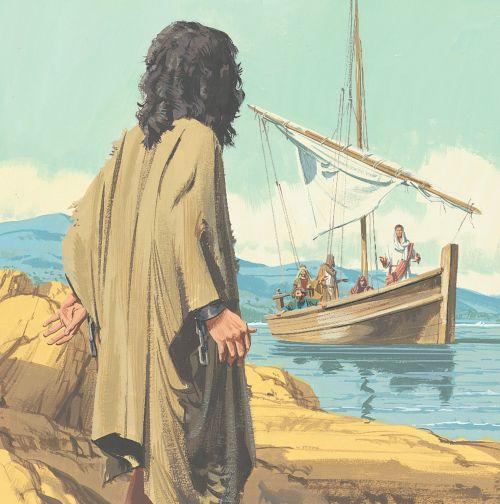 man watching Jesus sail away