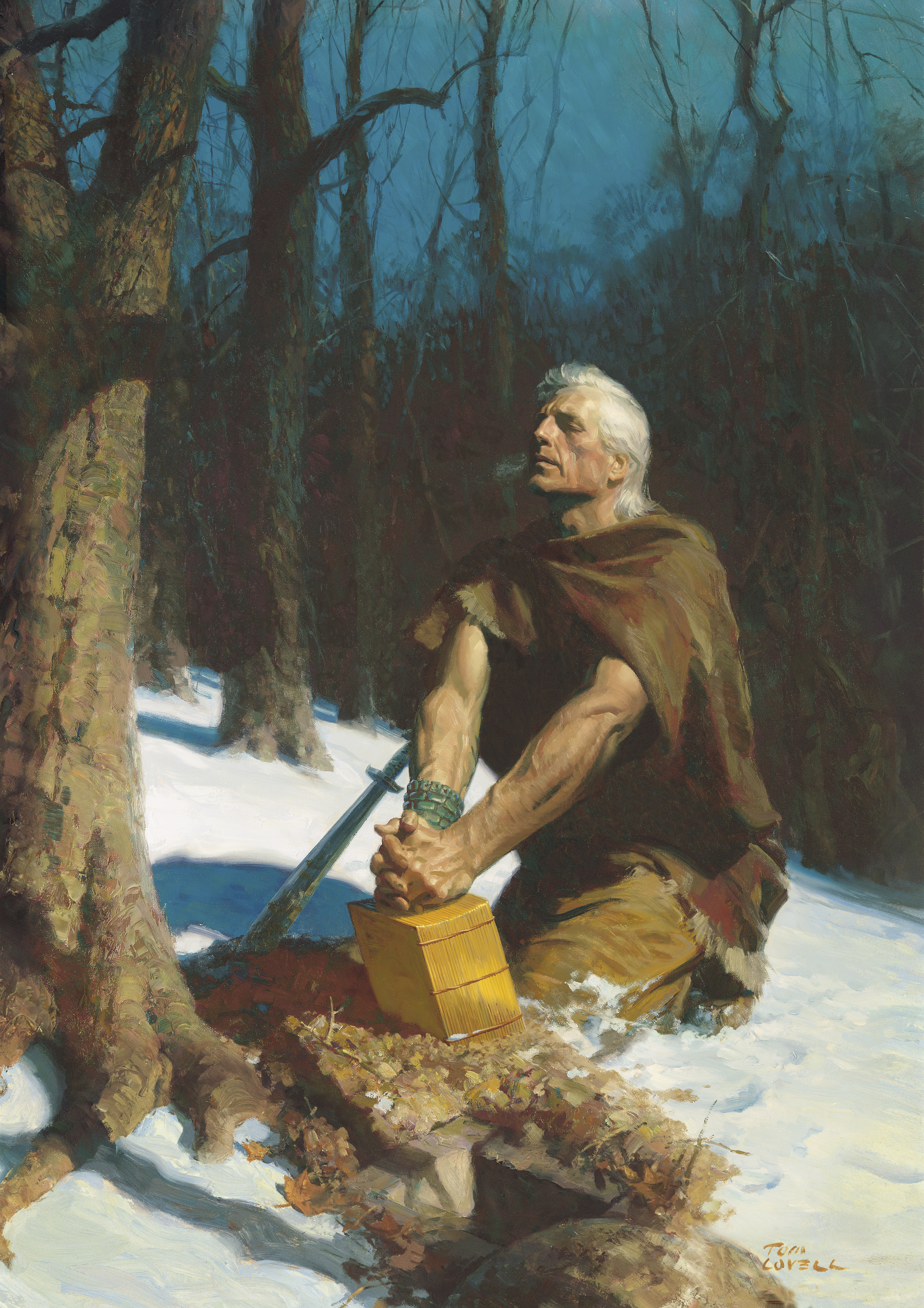 Moroni Hides the Plates in the Hill Cumorah (Moroni Burying the Plates), by Tom Lovell (62462); GAK 320; GAB 86; Primary manual 3-35; Primary manual 4-02; Mormon 6:6; 8:1, 3–4; Moroni 10:1–5