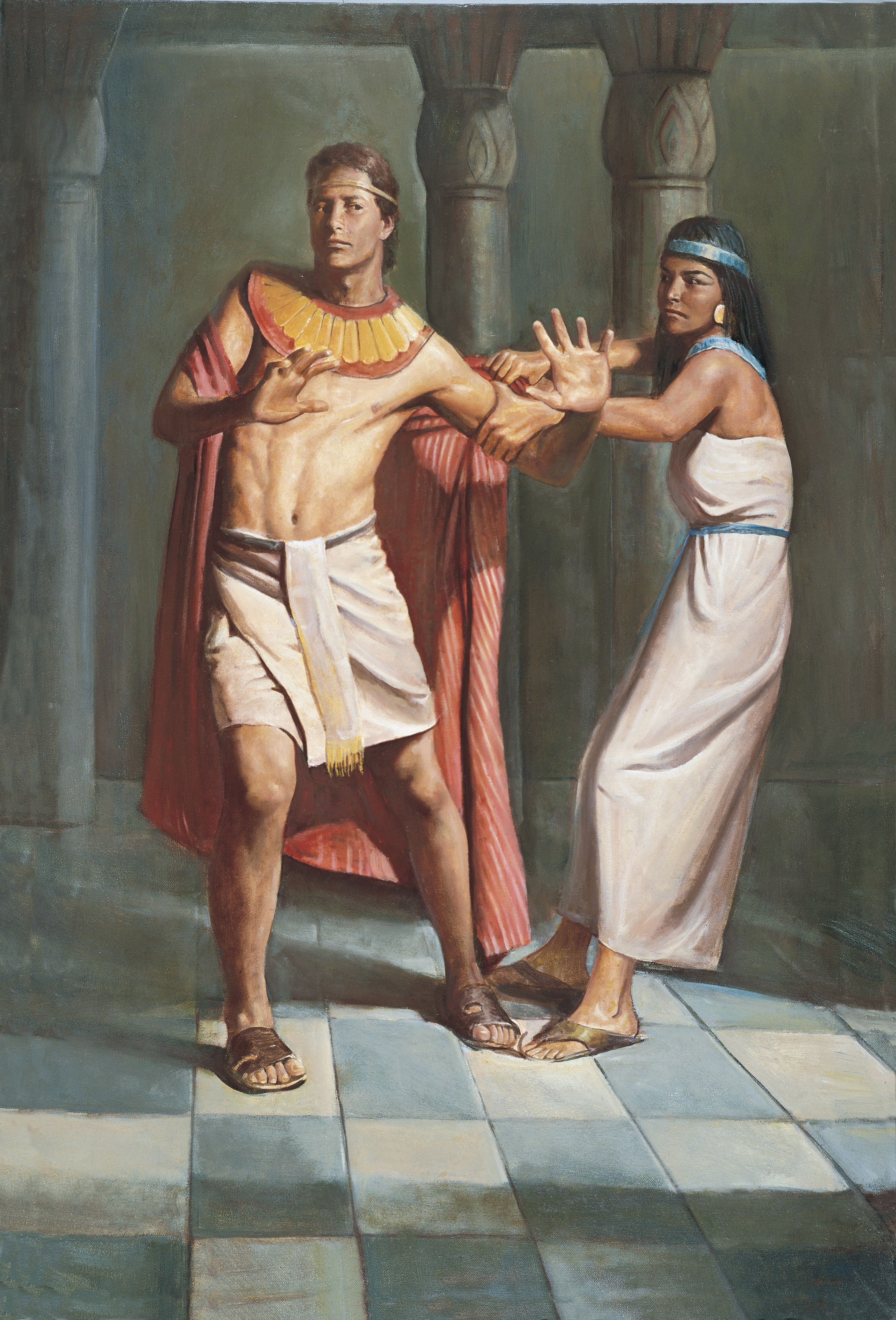Joseph Resists Potiphar's Wife (Joseph and Potiphar's Wife), by Del Parson (62548); GAK 110; GAB 11; Primary manual 6-18; Genesis 39