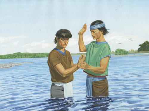 Nephi baptizing