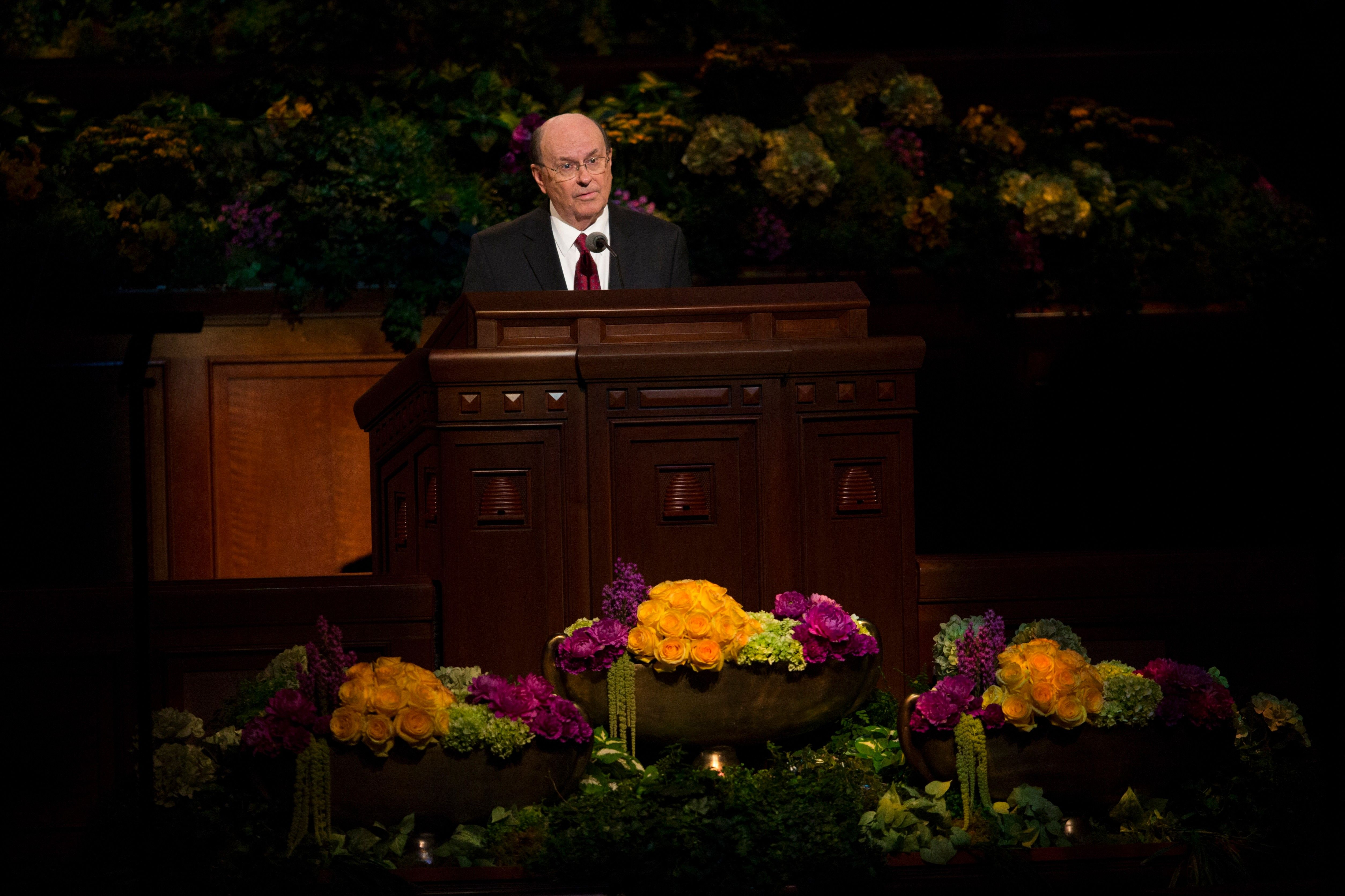 Quentin L. Cook speaking to the congregation during a session of general conference.