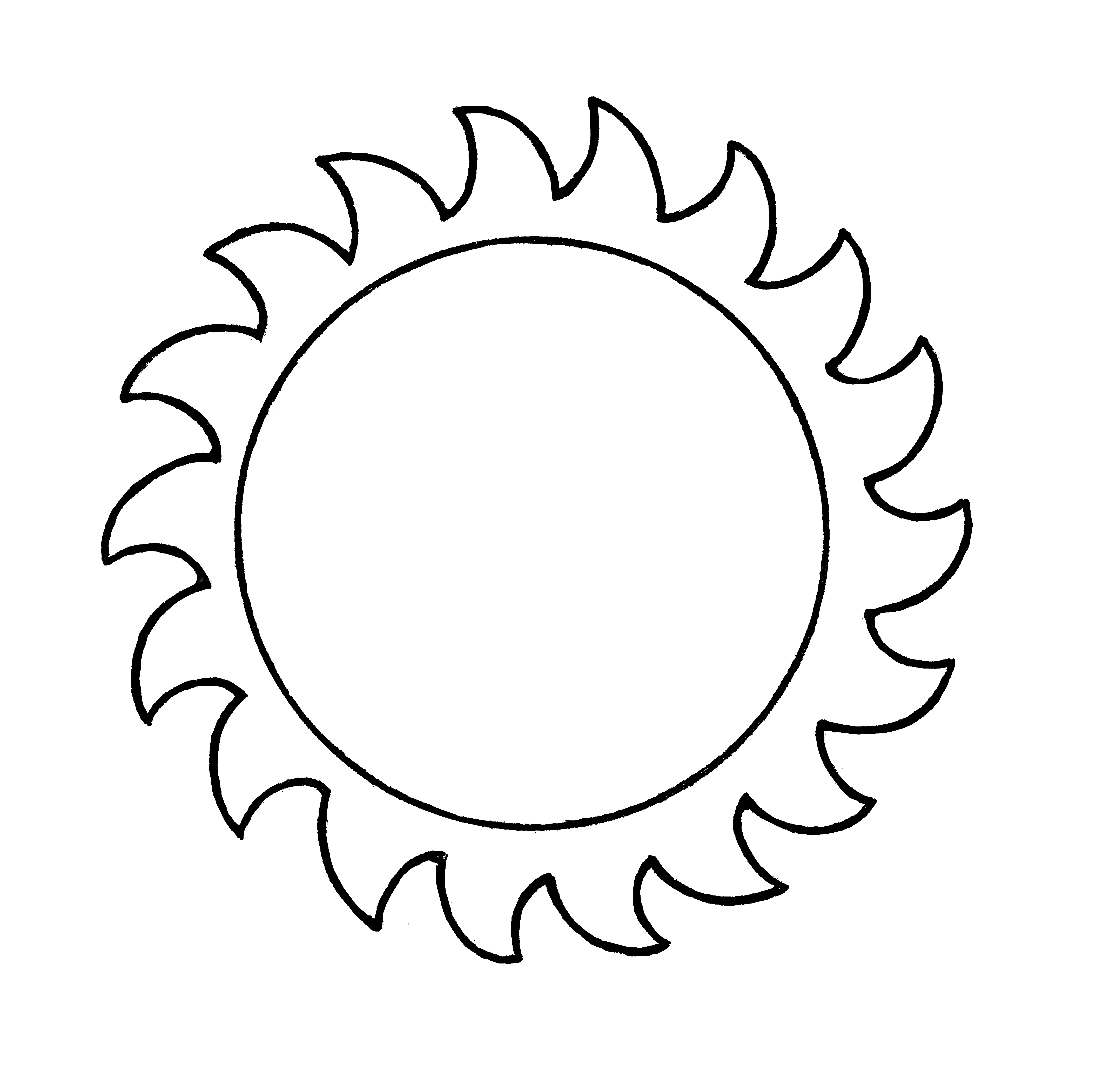 A line drawing of the sun from the nursery manual Behold Your Little Ones (2008), page 35.