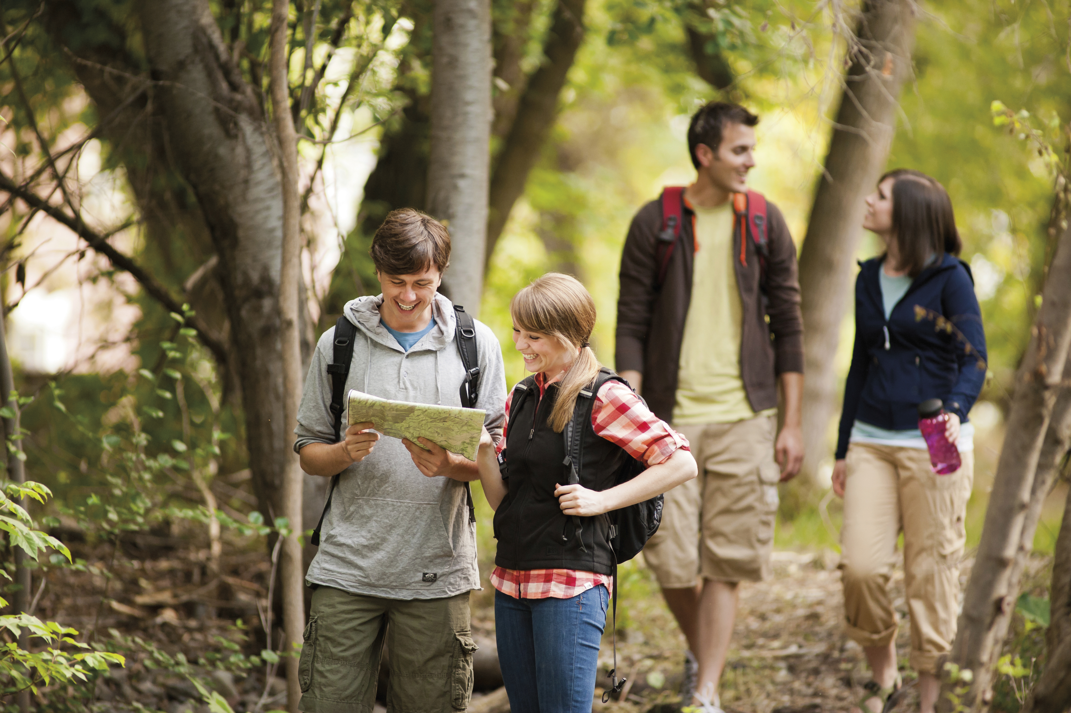 Two couples go hiking together on a group date.