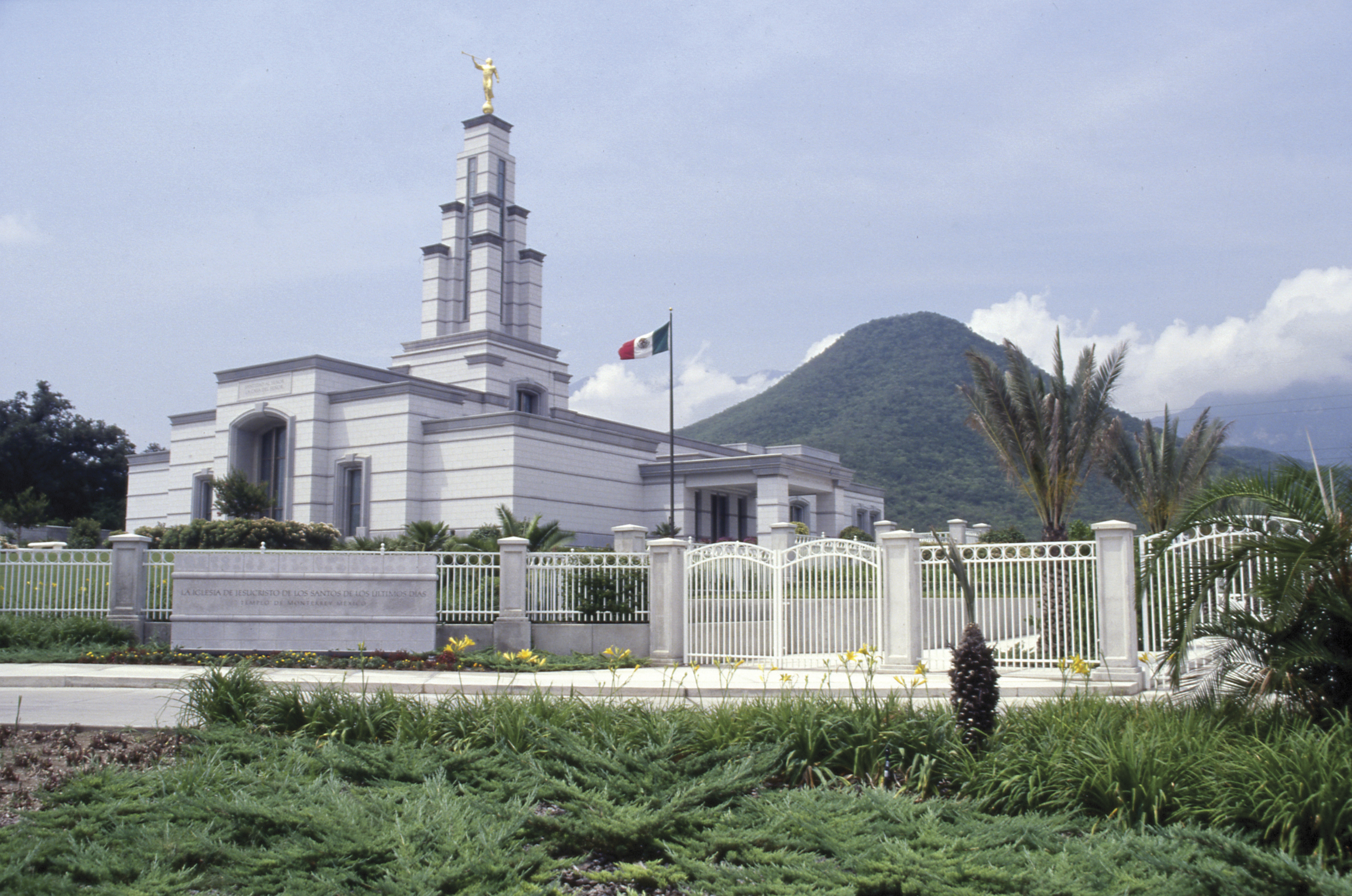 The Monterrey Mexico Temple name sign, including the entrance and scenery.