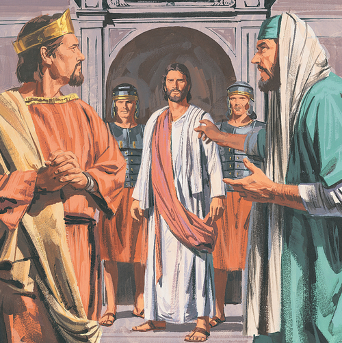 Jesus standing before Pilate