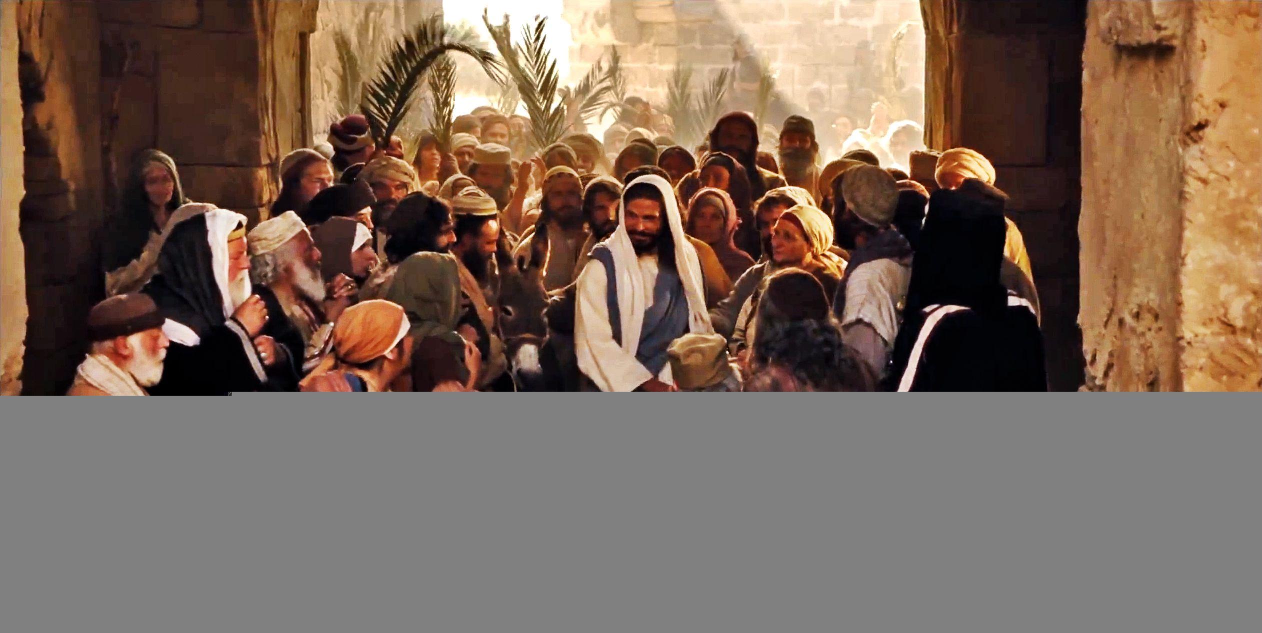 Christ riding into Jerusalem on Palm Sunday.