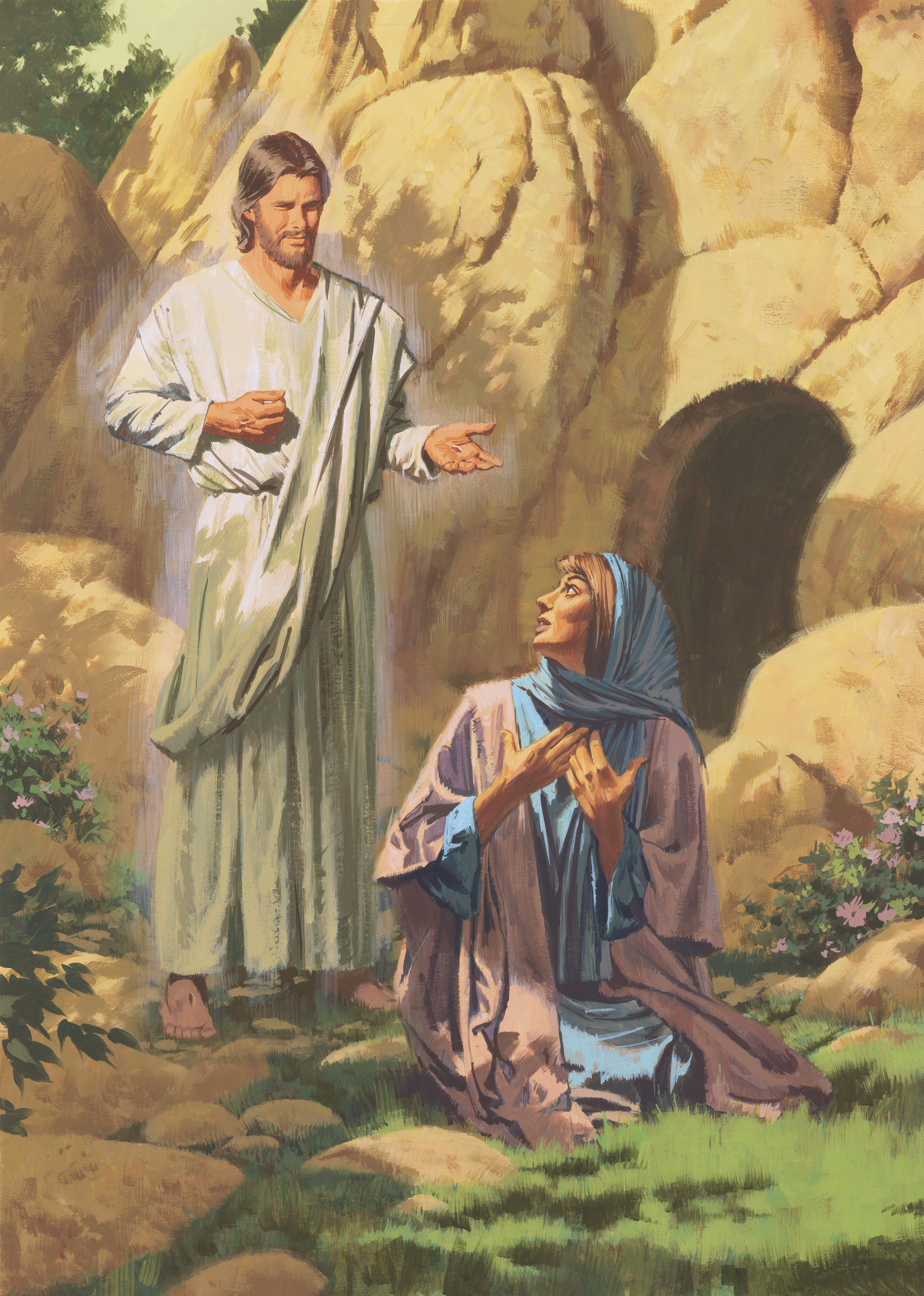 An illustration by Paul Mann showing the resurrected Christ talking to Mary.