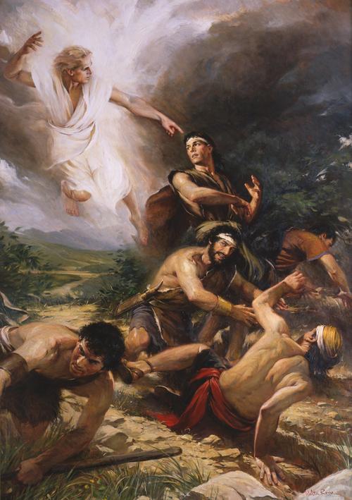 anđeo s Almom i Mosijinim sinovima