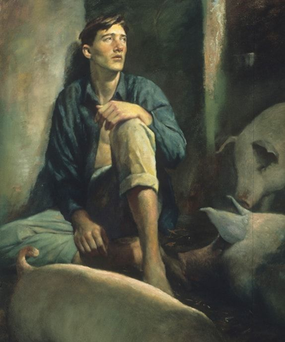 The prodigal son reflects on his choices as he sits with the swine