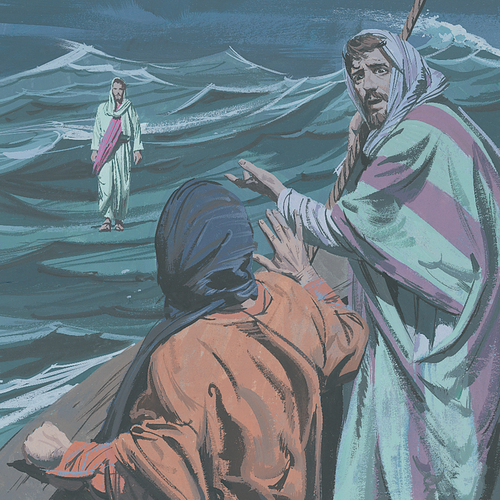 disciples watching Jesus from boat