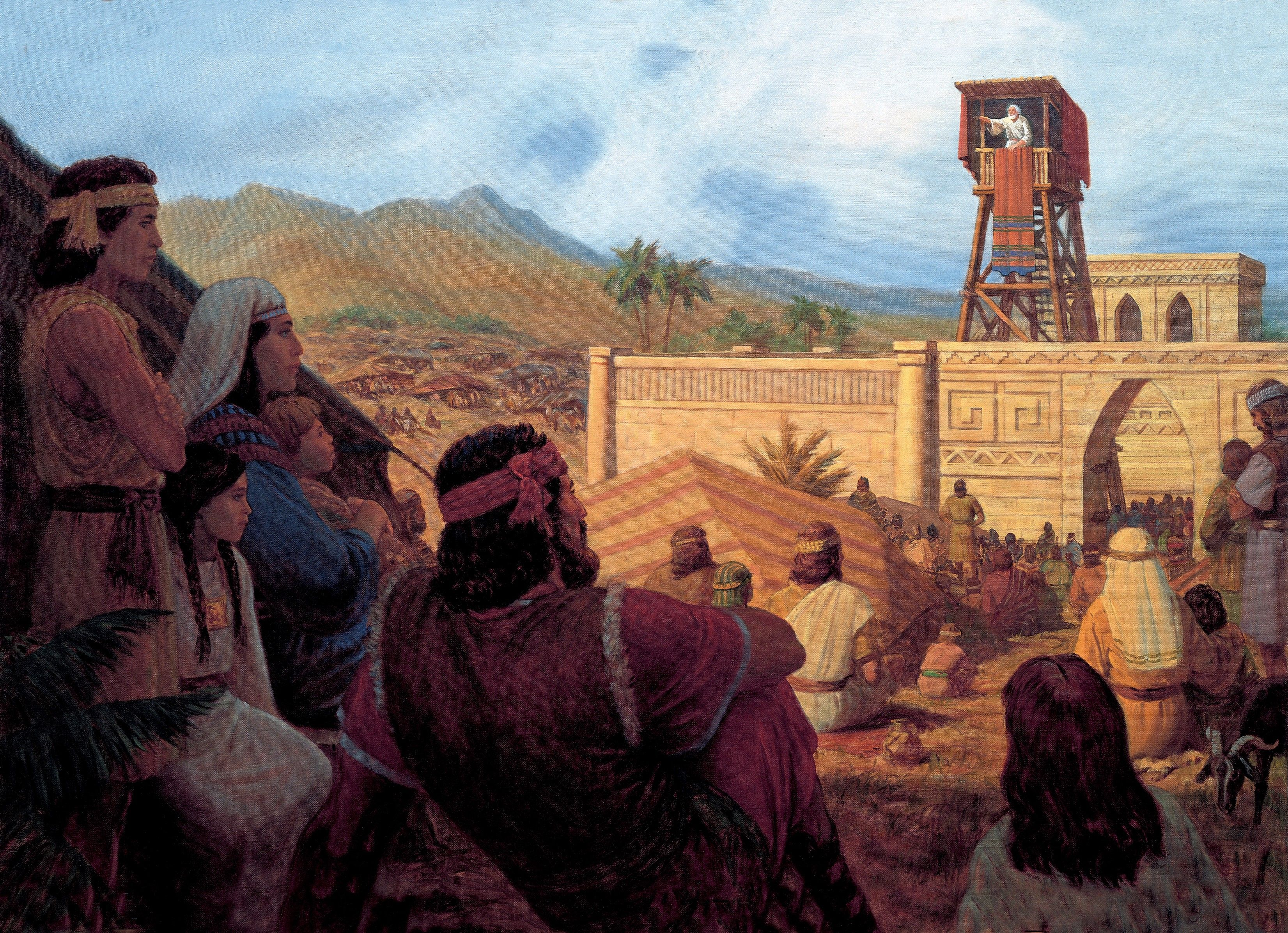 King Benjamin Addresses His People (King Benjamin Preaches to the Nephites), by Gary L. Kapp (62298); GAK 307; GAB 74; Primary manual 4-21; Mosiah 1:9–11, 18; 2:2–6