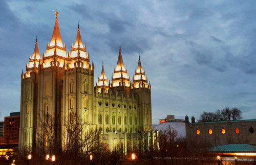 Salt Lake Temple relit
