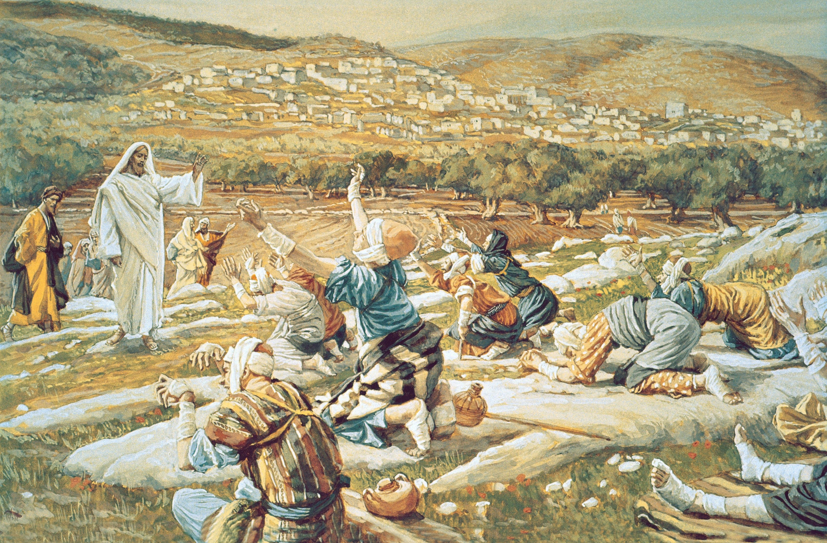 Ten Lepers (The Healing of the Ten Lepers), by James Tissot; Primary manual 2-45; Primary manual 7-23