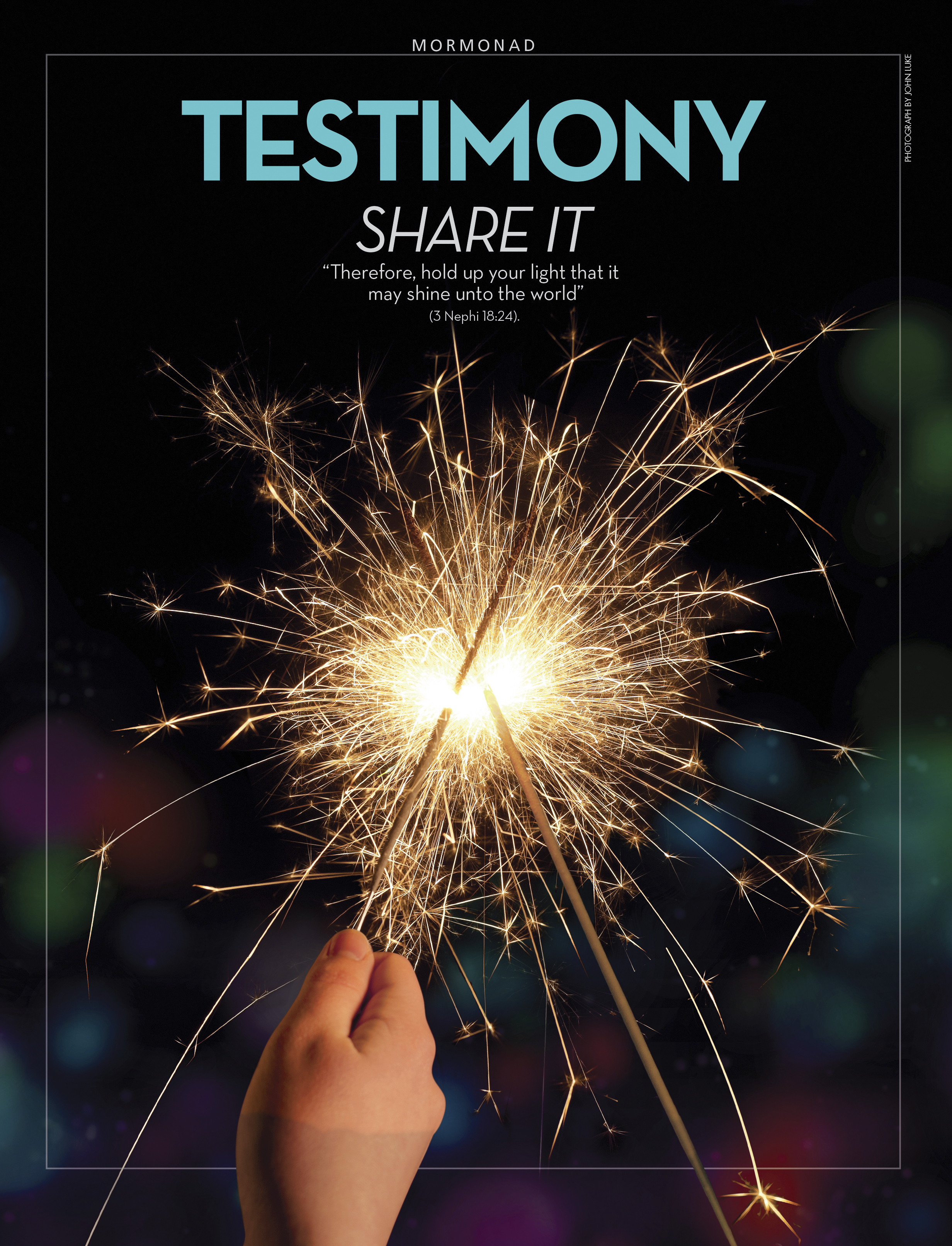 "A conceptual photograph showing one sparkler firework being used to light another, paired with the words ""Testimony: Share It."""