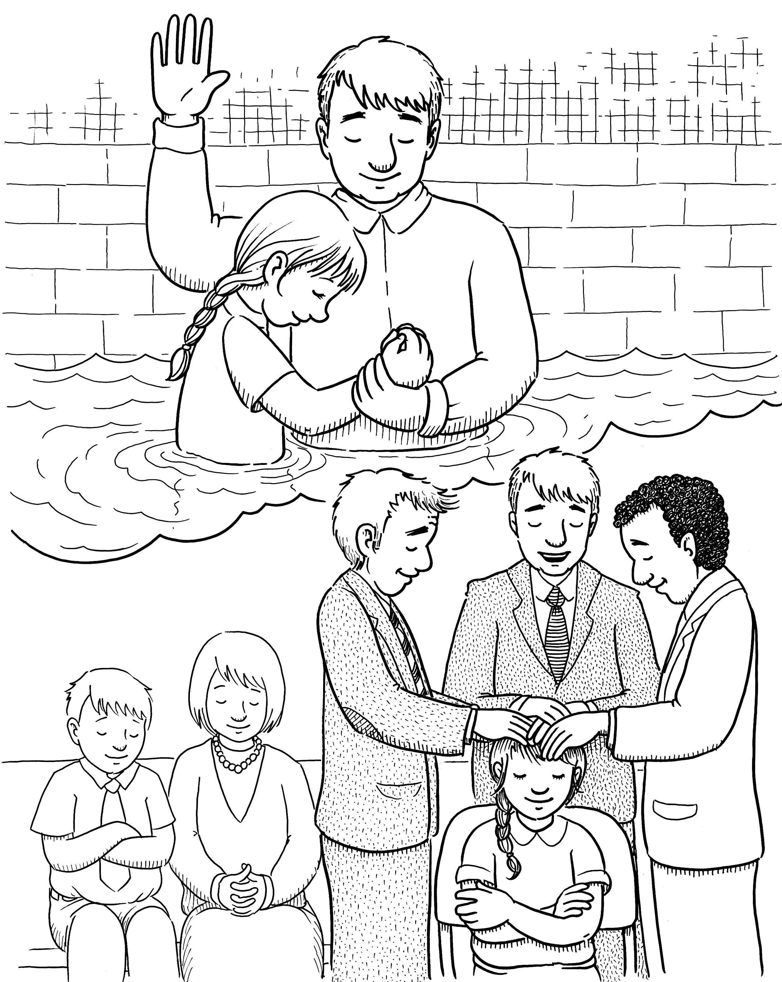 A young girl is baptized and then receives the gift of the Holy Ghost.