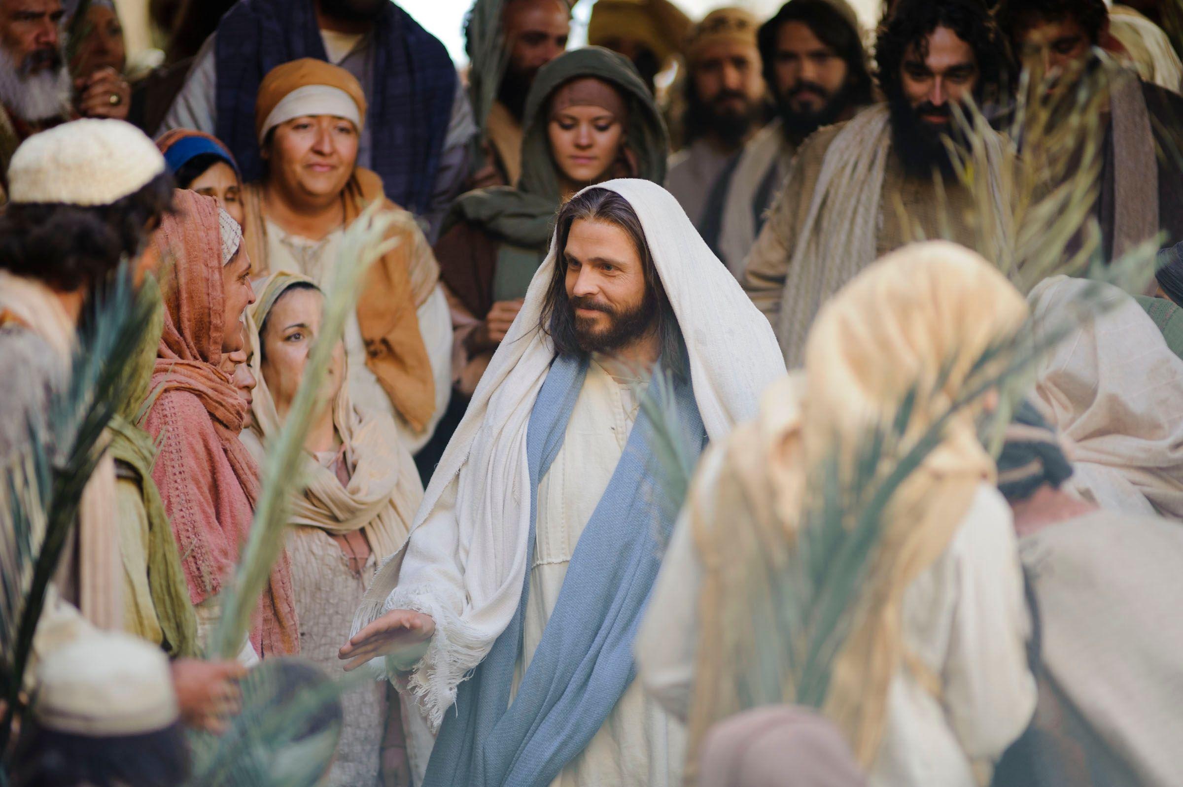 Jesus enters Jerusalem on a donkey.