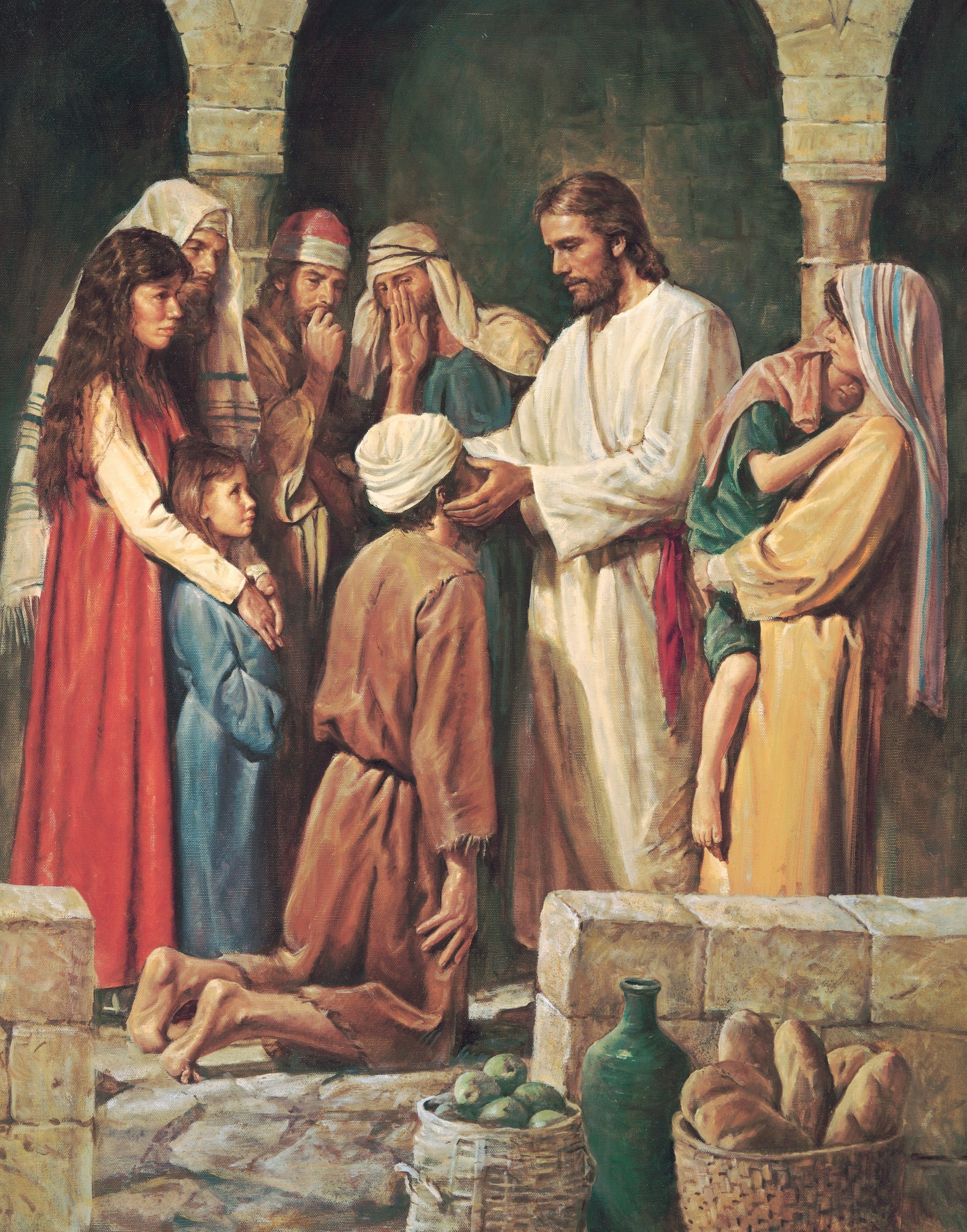 Christ Healing a Blind Man, by Del Parson (62145); GAK 213; nursery manual lesson 5, page 26; Primary manual 1-43; Primary manual 3-16; Primary manual 7-14; John 9:11