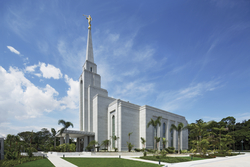 A side view of the Manaus Brazil Temple, with palm trees growing on the grounds and large white clouds overhead.