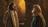 Jesus standing and speaking with Nicodemus.