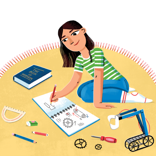A girl drawing in a notebook