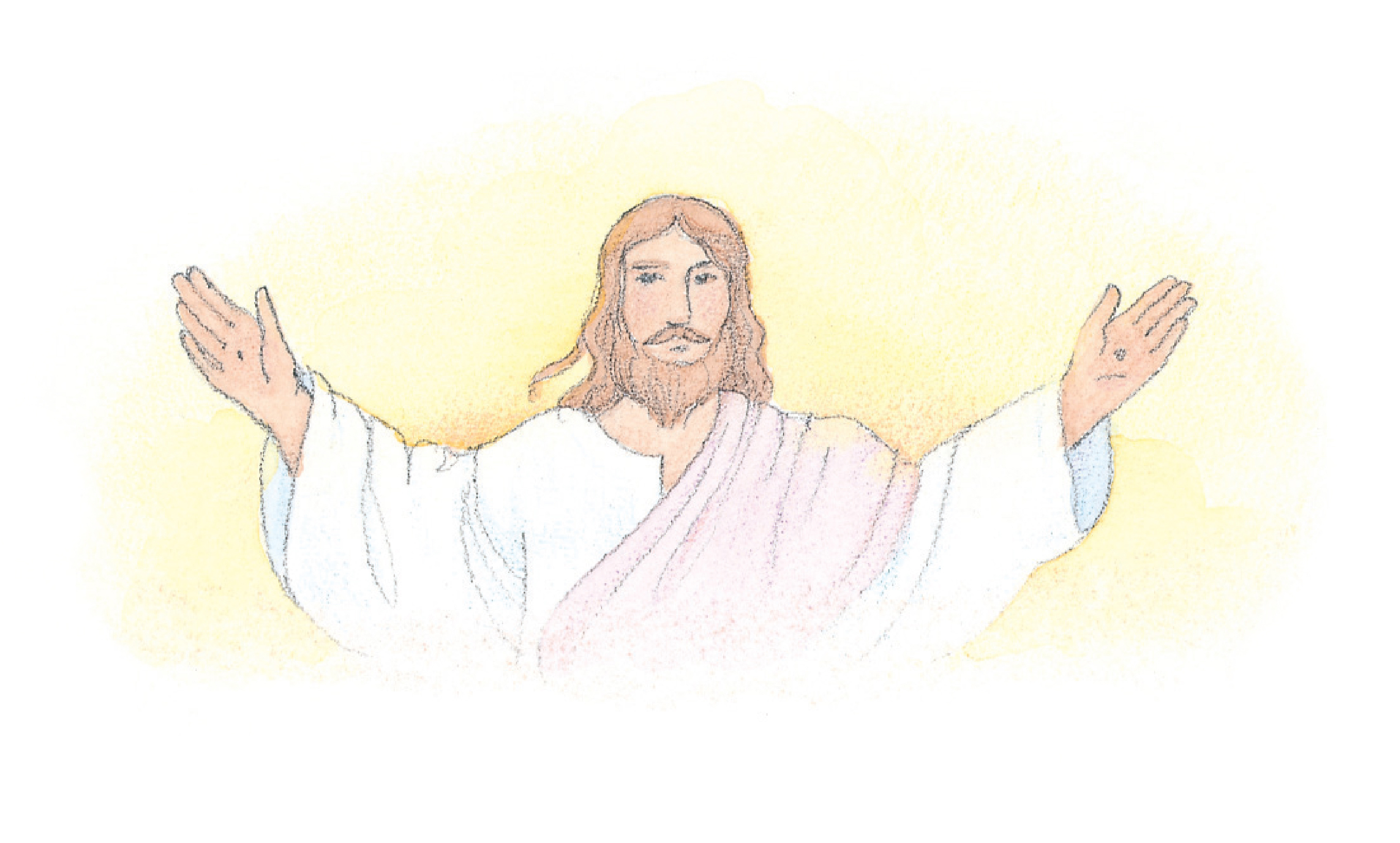 """Jesus Christ with His arms outstretched. From the Children's Songbook, page 76, """"This Is My Beloved Son""""; watercolor illustration by Phyllis Luch."""
