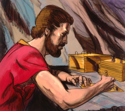 Nephi writing on brass plates