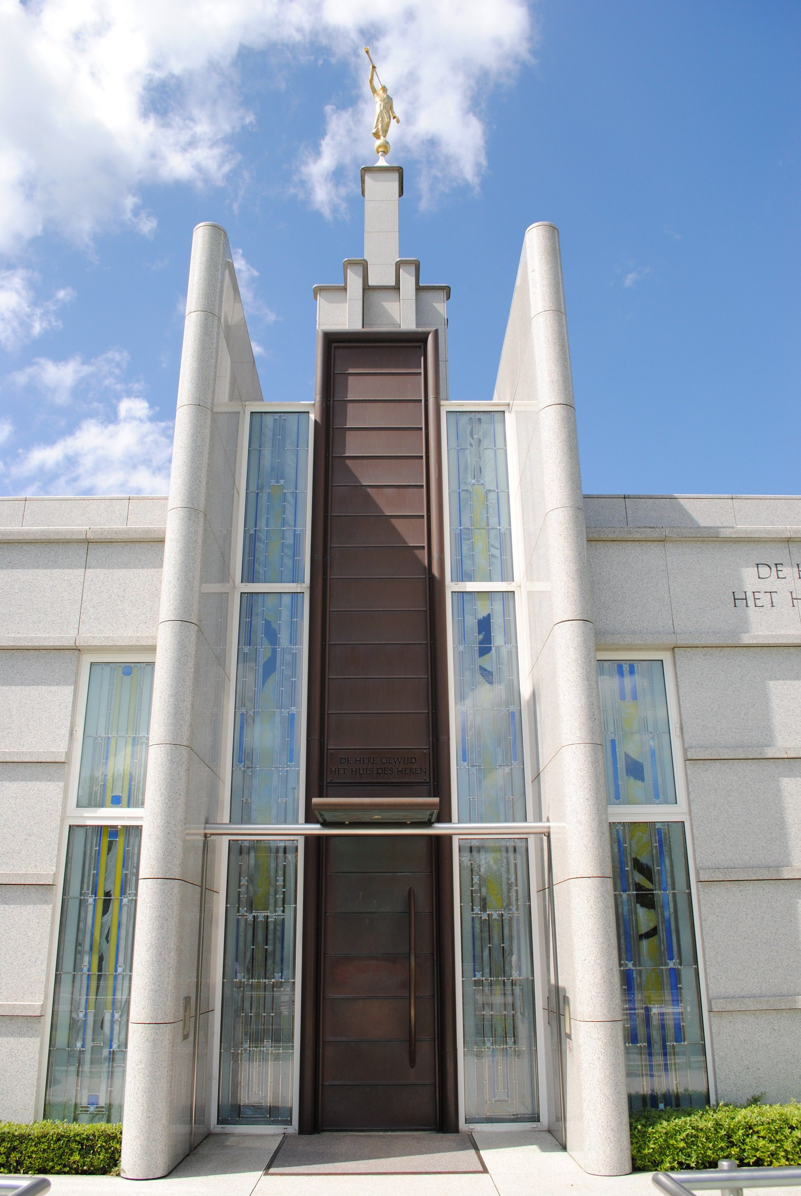 The Hague Netherlands Temple windows, including the door and spire.