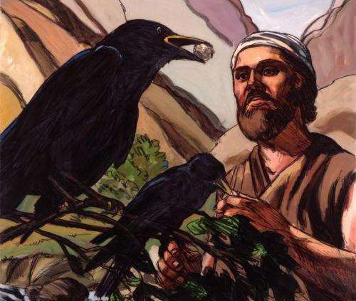Elijah being fed by crows