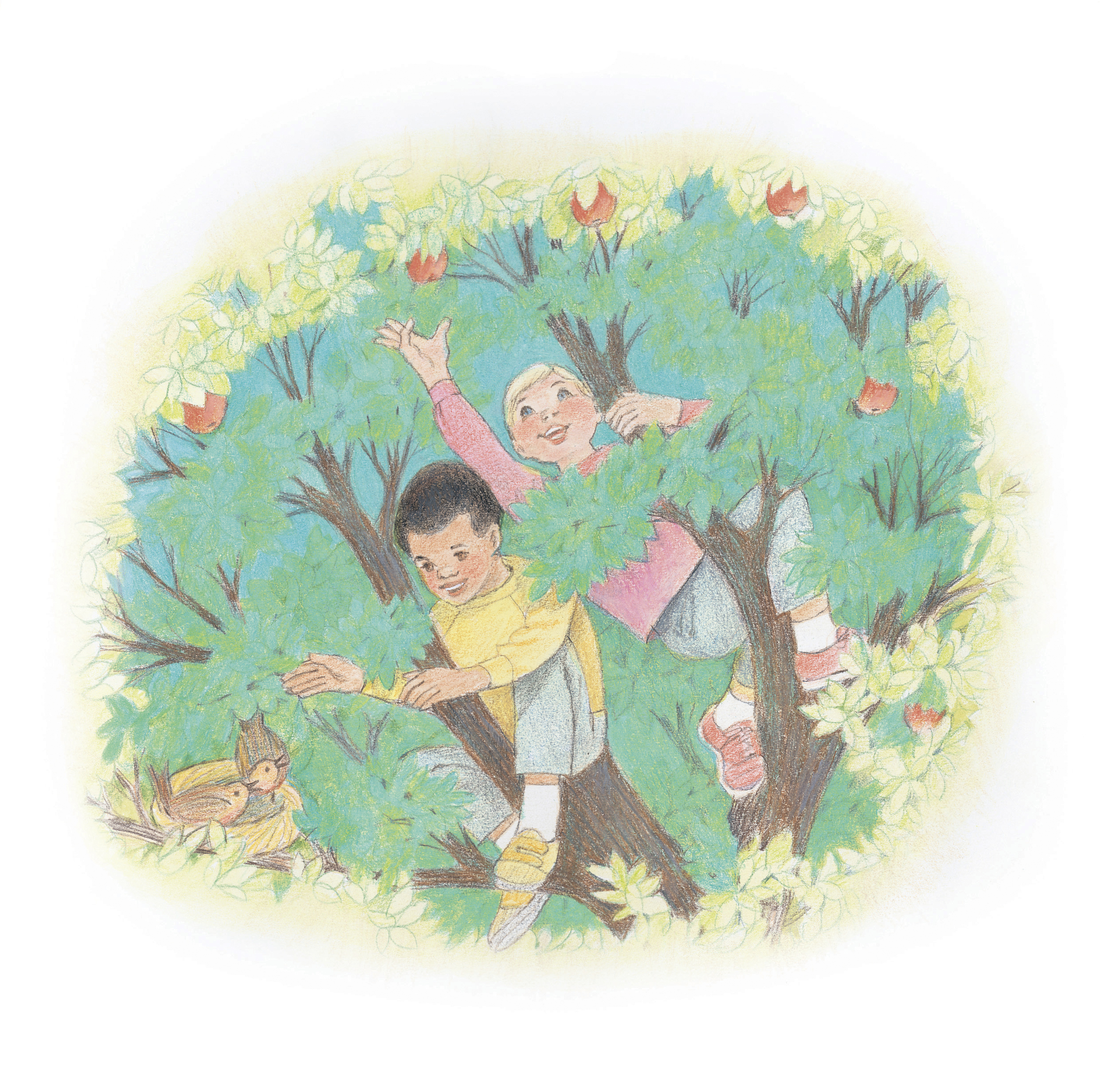 """Two children climbing a tree and picking apples. From the Children's Songbook, page 240, """"In the Leafy Treetops""""; watercolor illustration by Virginia Sargent."""