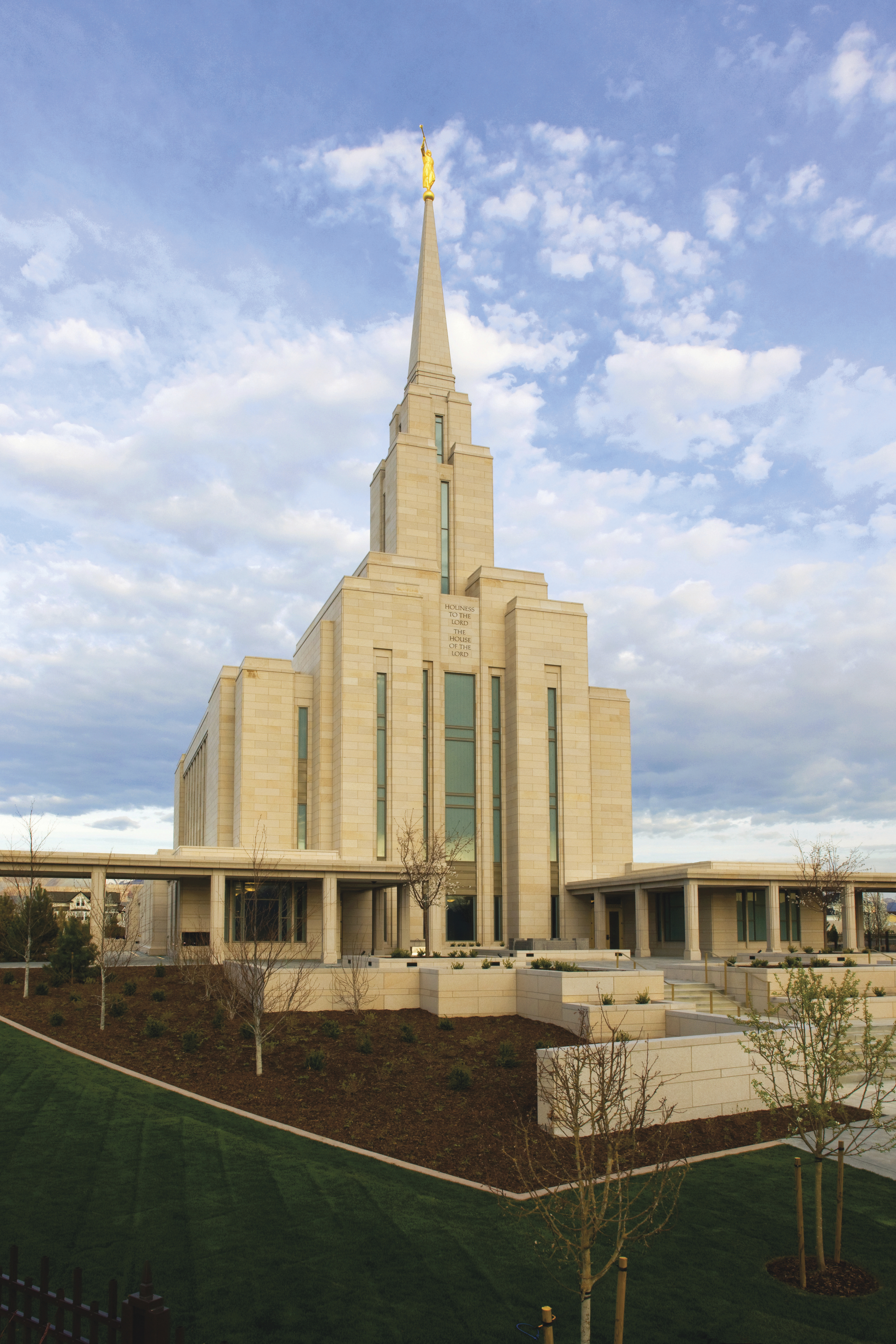 The Oquirrh Mountain Utah Temple and grounds.