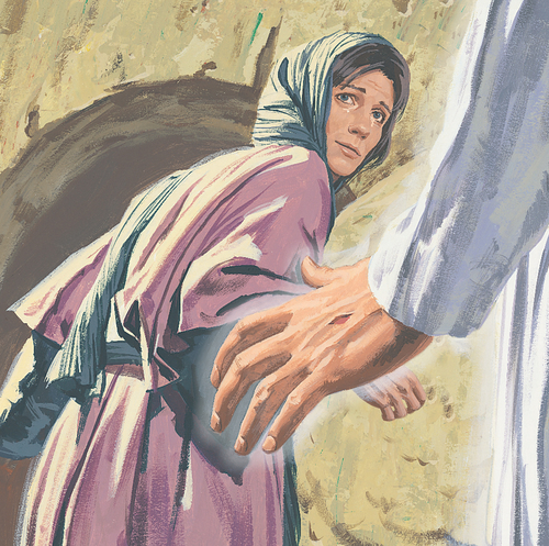 Jesus's hand reaching out to Mary Magdalene
