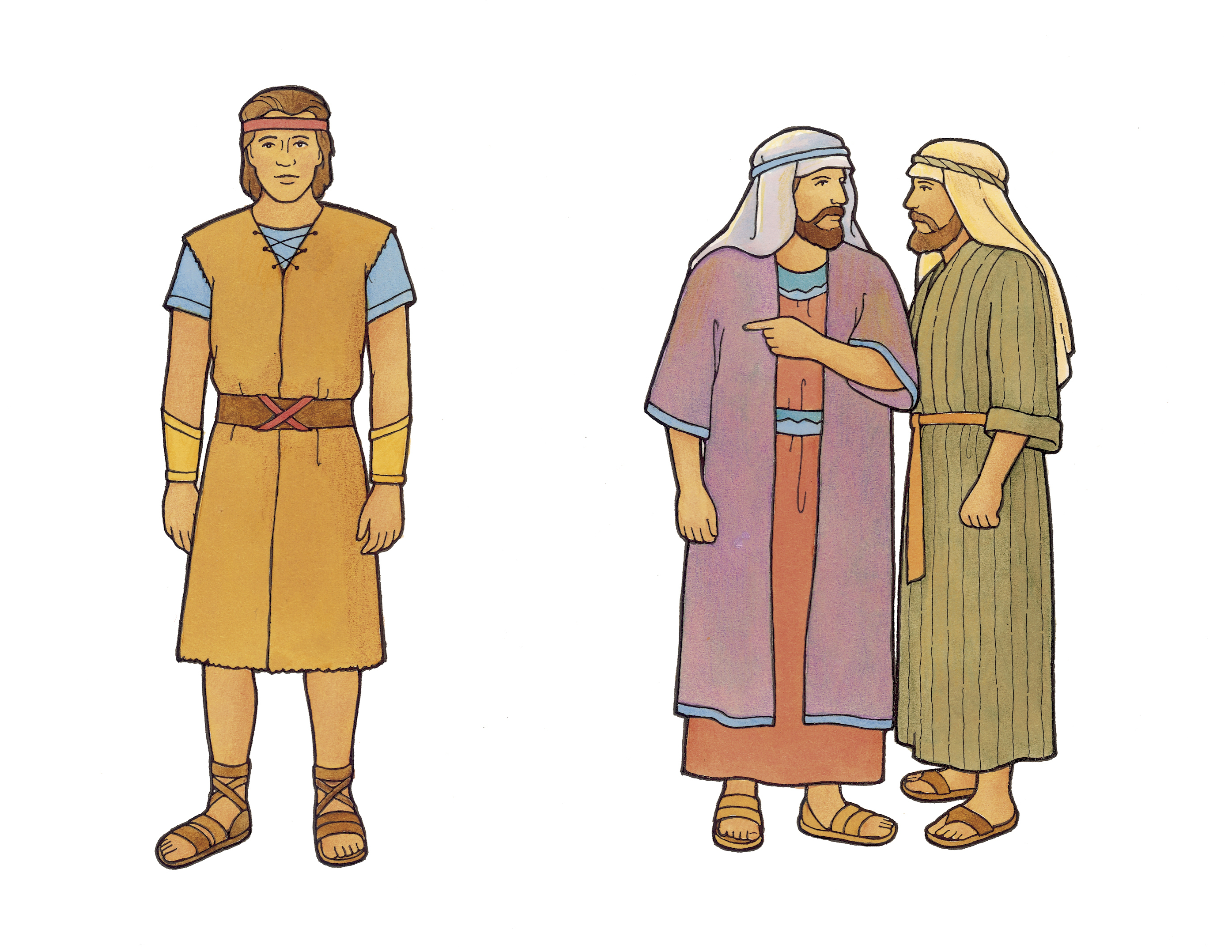 Laman and Lemuel whisper and point at their brother Nephi.