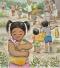 girl praying while helping carry water jug