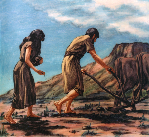 Adam plowing ground