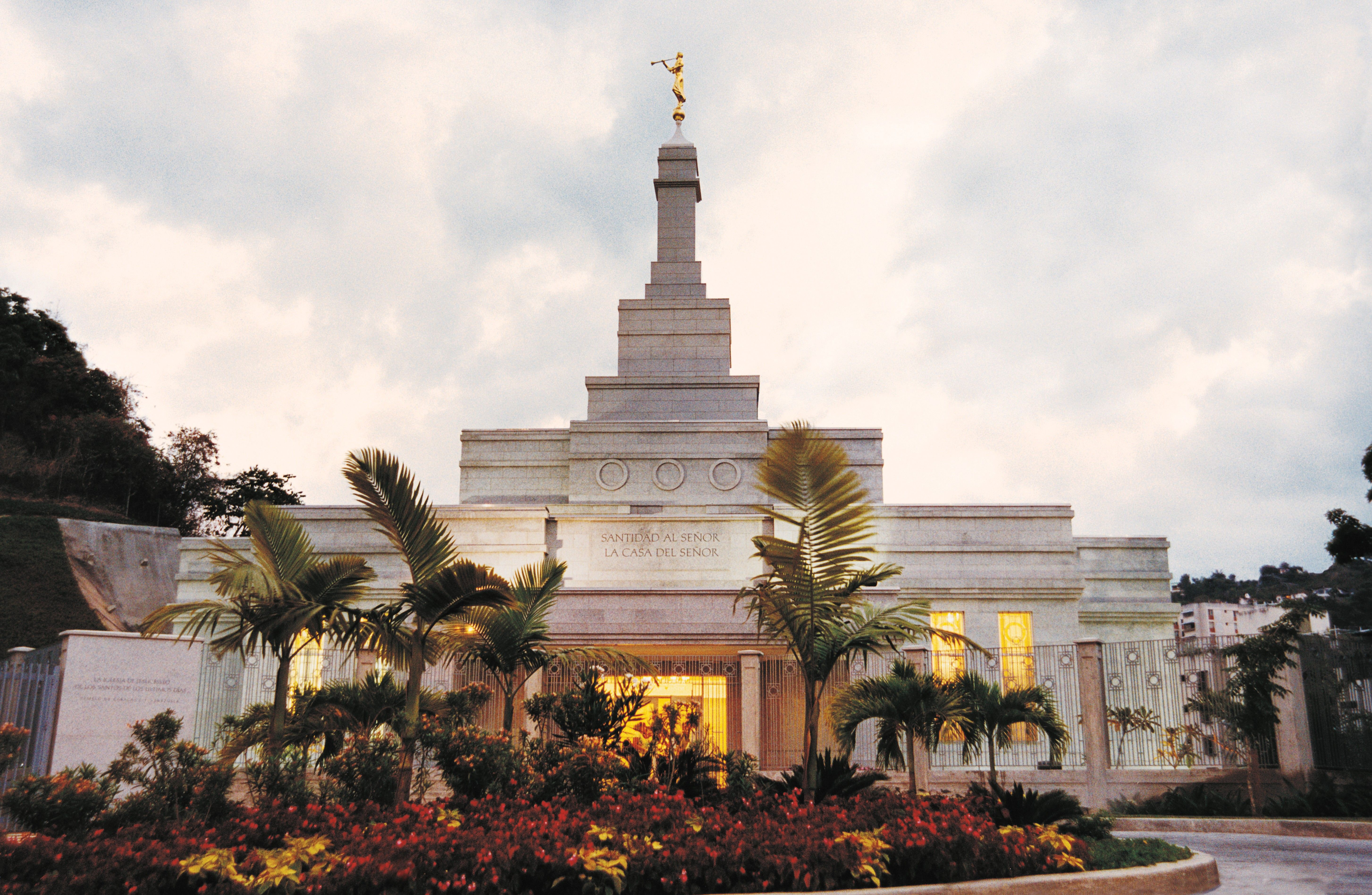 A front view of the Caracas Venezuela Temple on a cloudy day.