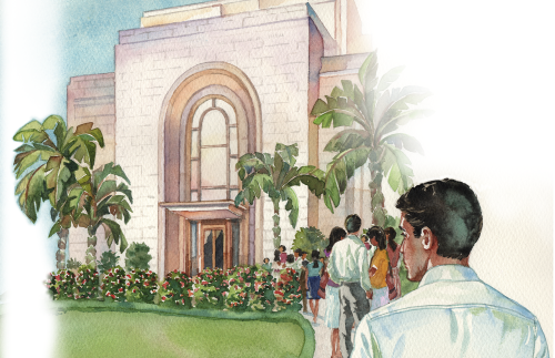 An illustration of the San Salvador Temple